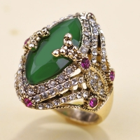 0202101042 Jade Color Rhinestone Lustre Vintage Rings 1 Color