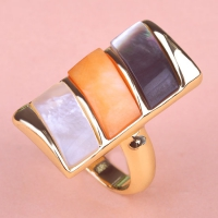 0202100408 Alloy Natural Shell Lustre Statement Rings 2 Colores