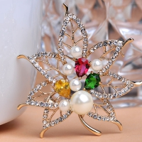 7106100479 Luxury Colorful Rhinestone Pearl Leaf Brooches