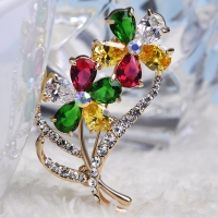 7106100478 Trendy Colorful Swarovski Zirconia Flower Brooches 2 colores