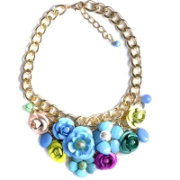 0204102886 Statement Big Flower Shourouk Necklaces