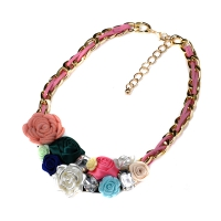 0204102852 Hot Selling Silk Flowers Shourouk Necklaces 2colores