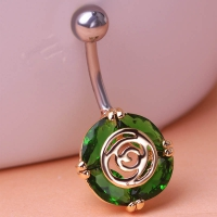 0213400186 Fashion Crystal Flower  Piercing Navel Belly Button Rings 3 colores