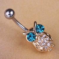 7613400003 Fashoin Crystal Owl Piercing Navel Belly Button Rings 1 color