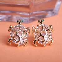 0203102801 Fashion Copper  Rhinestone tortoise Earrings 2 Colores