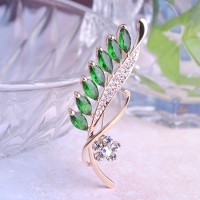 7106100561 Fashion Alloy Zirconia Leaf Brooch 2 Colores