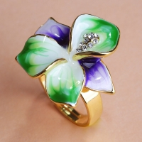 2202101062 Esmalte Emerald Flower Ring Ajustable