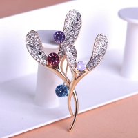 7106100346 Fashion Austrian Rhinestone Flower Brooch 2 colores