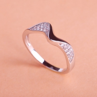 7102300023 Copper Rhinestone Wave Lustre Statement Rings 2 Colores