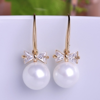 0203102663 Fashion Alloy  Rhinestone Pearl Earrings 2 Colores