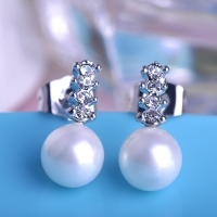 7603100117 Fashion Alloy  Pearl  Earrings 2 Colores