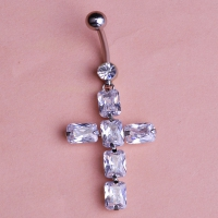 2213400841 Classic Crystal Cross Piercing Navel Belly Button Rings 2 colores