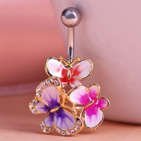 7613400006 Enamel 3 Butterflys Piercing Navel Belly Button Rings 4 colores