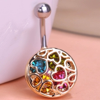 0213400187 Fashion Crystal Heart Pierced Piercing Navel Belly Button Rings 1 color
