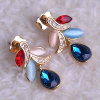 0203103148 Fashion Alloy  Rhinestone Flower Earrings 2 Colores