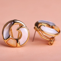 0203101524 Fashion Copper  Rhinestone spiral Earrings 2 Colores