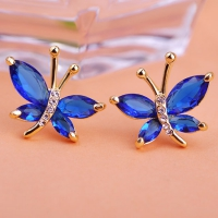 2203103834 Fashion Alloy  Rhinestone Butterfly Earrings 3 Colores