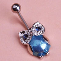 0213400173 Trendy Emerald Owl Piercing Navel Belly Button Rings 2 colores