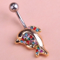 7613400008 Fashion Crystal dolphins  Piercing Navel Belly Button Rings 2 colores