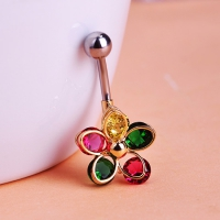 7613400017  Crystal Fashion Flower   Belly Button Rings 3 colores