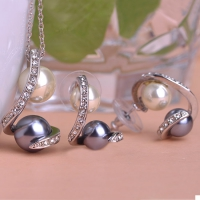 1203100937 Fashion Alloy Crystal Pearl  Necklace&Earring Sets 2 Colores