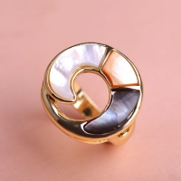 0202100409 Copper Rhinestone Lustre Statement Rings 2 Colores