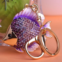 0210100261 Fashion Full Rhinestone Fish Bag Key Chains