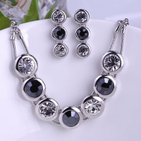 0703100140 Fashion Alloy Crystal  Necklace&Earring Sets 2 Colores