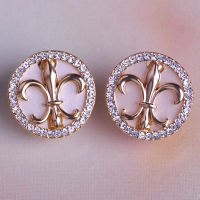 0203103093 Fashion Alloy  Rhinestone Cross Earrings 2 Colores