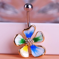 7613400004 Enamel Flower Piercing Navel Belly Button Rings 4 colores