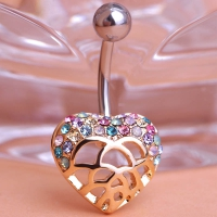 0213400184 Fashion Crystal Heart  Piercing Navel Belly Button Rings 1 color