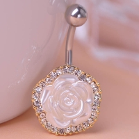 0213400188 Romantic Crystal FlowerPiercing Navel Belly Button Rings 1 color