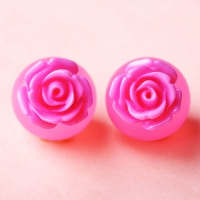 7603100002 Fashion Alloy  Resin  Rose Earrings 3 Colores