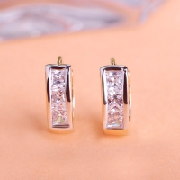 2503300332 Fashion Copper  Rhinestone Small Earrings 2 Colores