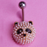 0213400172 Pearl Panda Piercing Navel Belly Button Rings 1 color