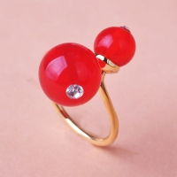 0202101043 Copper crystal  Cherry  Rings 6 Colores