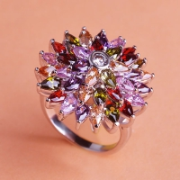 1602300015 Copper Rhinestone Flower Lustre Statement Rings 1 Colour