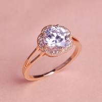 7102300007 Copper Zircon Flower  Lustre Statement Rings 2 Colores